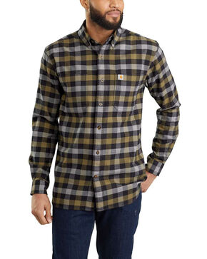 Carhartt Men's Rugged Flex Hamilton Plaid Long Sleeve Work Shirt - Tall , Black, hi-res