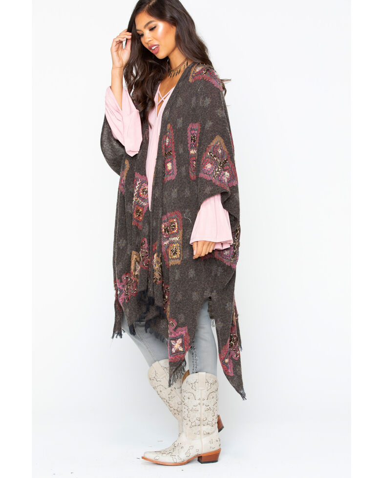 Aratta Women' s Lola Hand Embroidered Poncho, Charcoal, hi-res