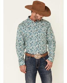 Cody James Core Men's Roper Large Paisley Print Long Sleeve Button-Down Western Shirt - Big & Tall, Cream, hi-res