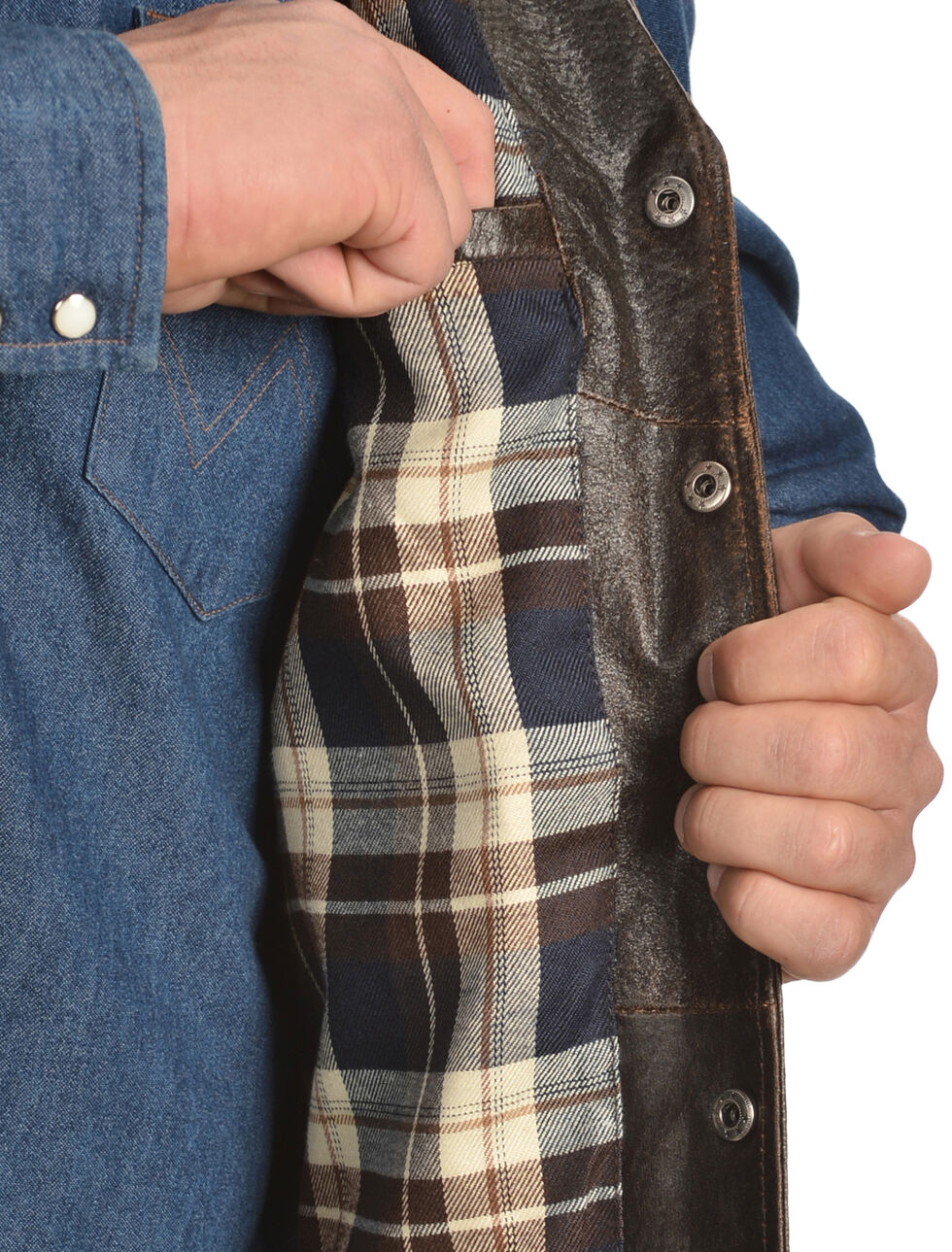 Cripple Creek Men's Leather Snap Front Conceal Carry with Flannel Lining Vest, Brown, hi-res