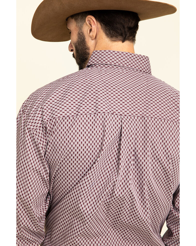 George Strait by Wrangler Burgundy Small Geo Print Long Sleeve Western Shirt , Burgundy, hi-res