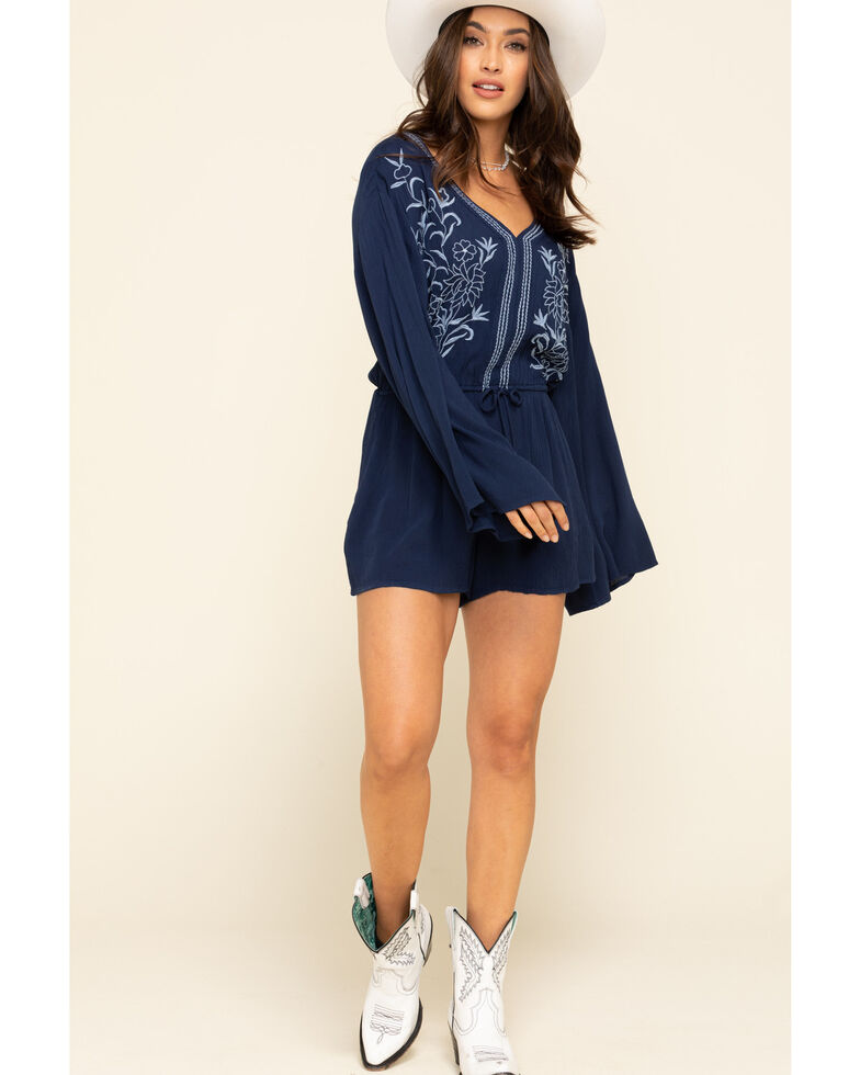 White Crow Women's Bell Sleeve Floral Romper , Dark Blue, hi-res