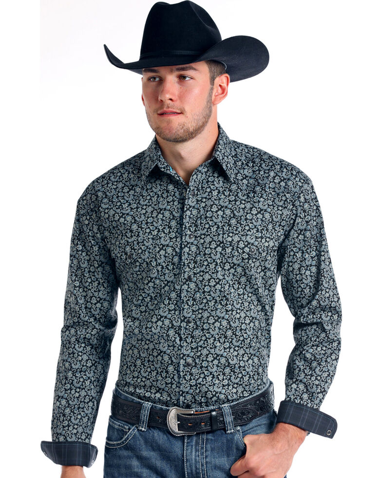 Rough Stock by Panhandle Men's Vintage Print Long Sleeve Snap Shirt, Charcoal, hi-res