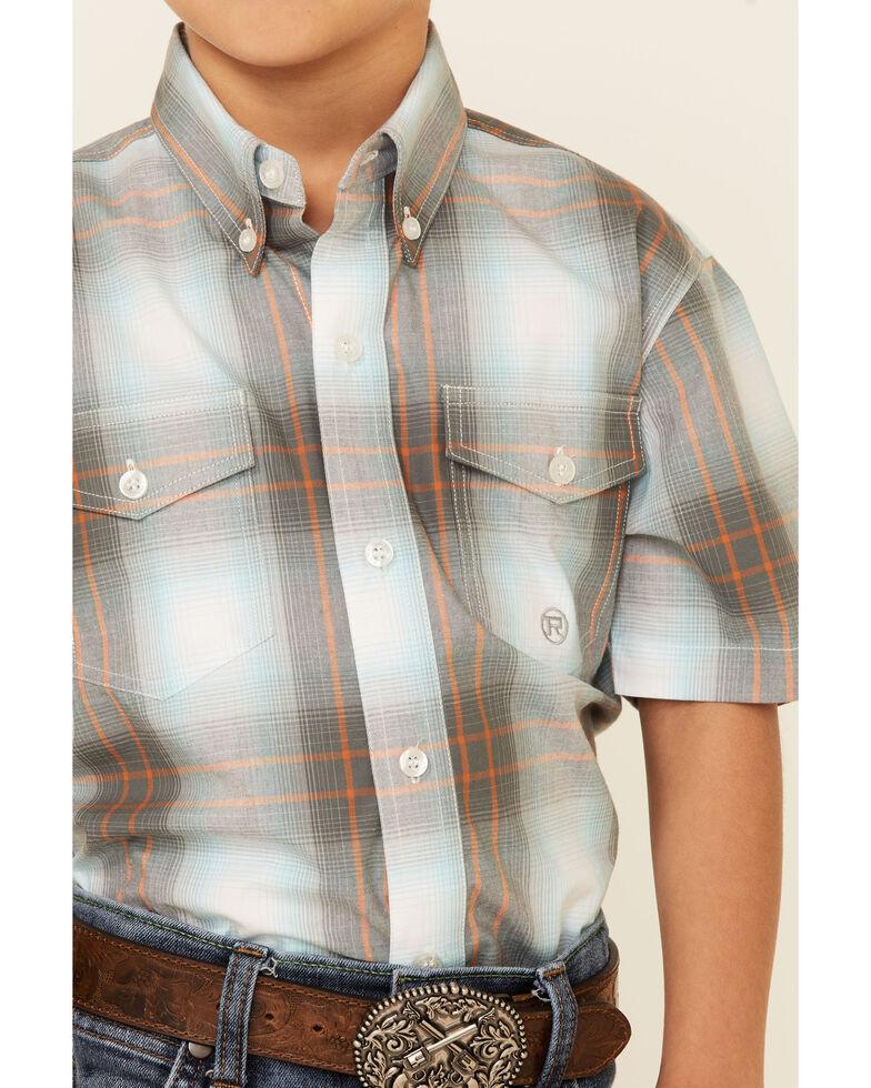 Amarillo Boys' Copper Ridge Dawn Ombre Plaid Short Sleeve Snap Western Shirt , Multi, hi-res