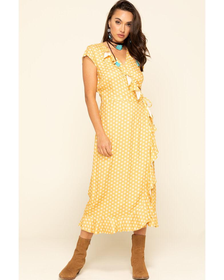 Stetson Women's Yellow Ruffle Wrap Dress , Yellow, hi-res