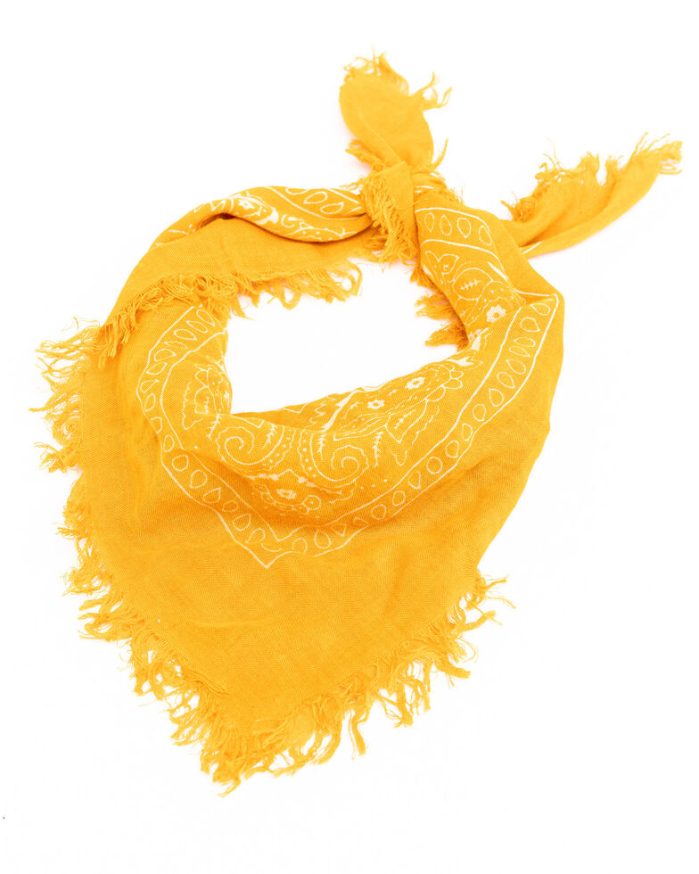 Idyllwind Women's Rocking West Frayed Bandana, Dark Yellow, hi-res