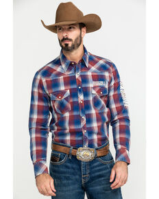 Rock & Roll Denim Men's Plaid Logo Long Sleeve Western Shirt , Red, hi-res