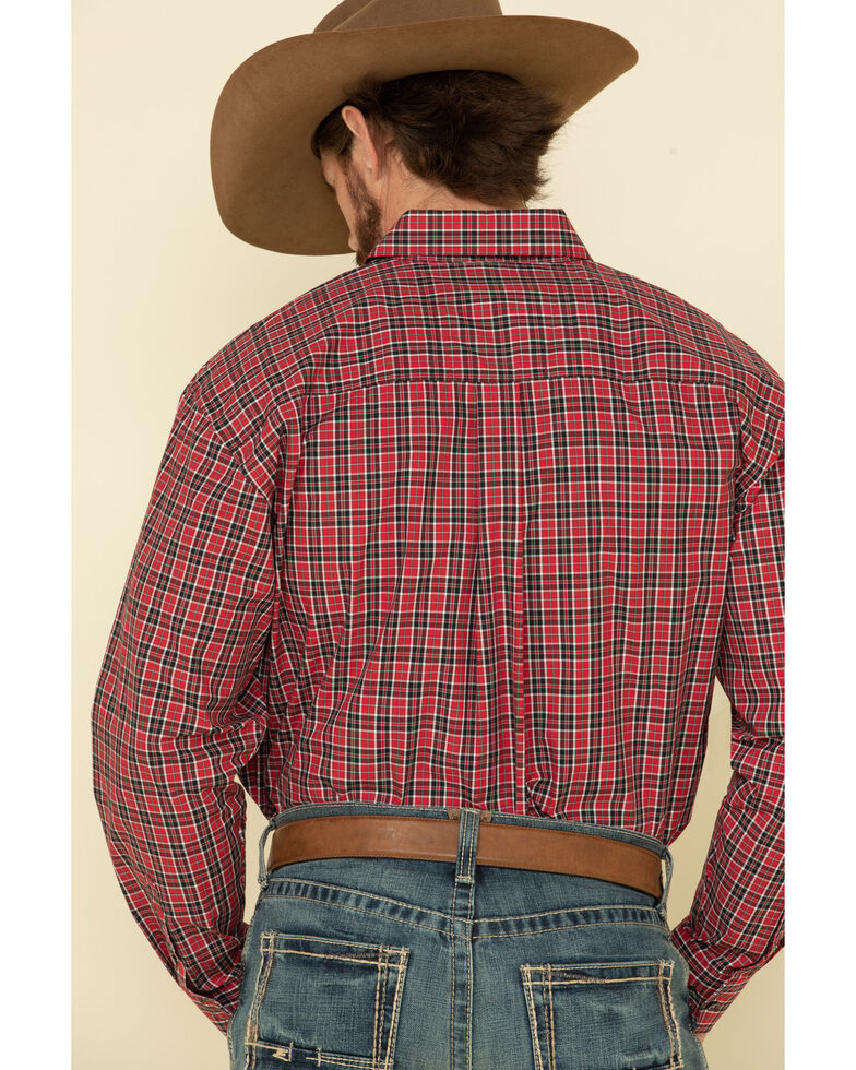 George Strait By Wrangler Men's Red Med Plaid Long Sleeve Western Shirt - Big , Red, hi-res