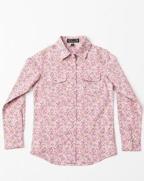 Shyanne Girls' Ditsy Paisley Print Long Sleeve Western Shirt , Pink, hi-res