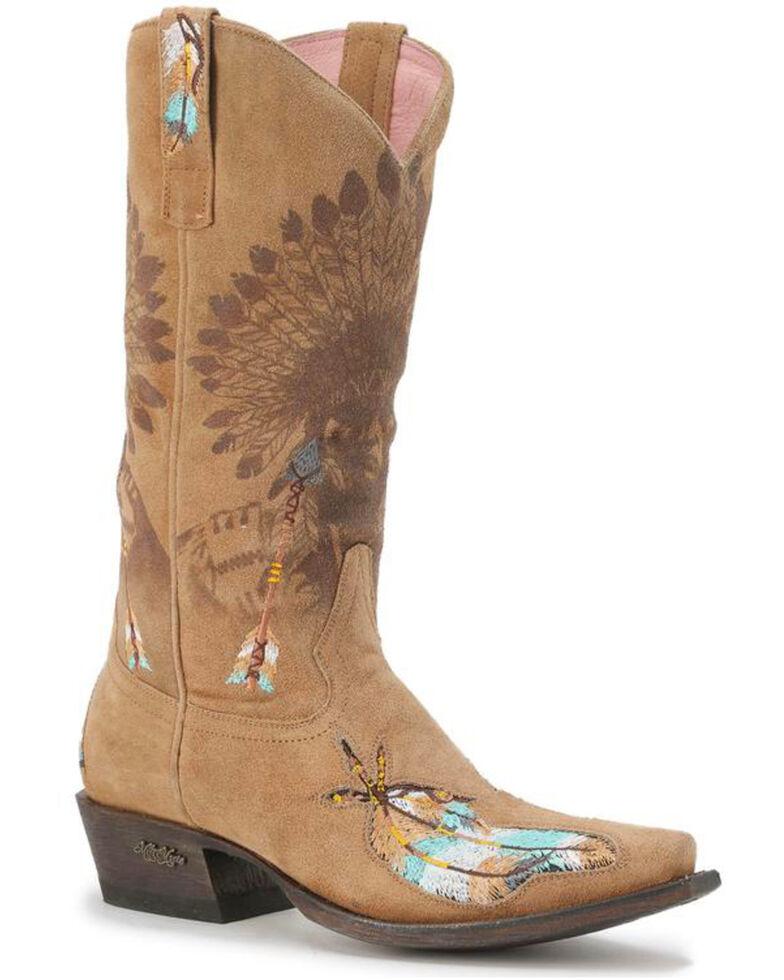 Miss Macie Women's Tan Leather Shawnee Boots - Snip Toe , Cream, hi-res