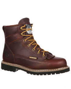 Georgia Boot Men's Lace-To-Toe Waterproof Work Boots - Steel Toe, Brown, hi-res