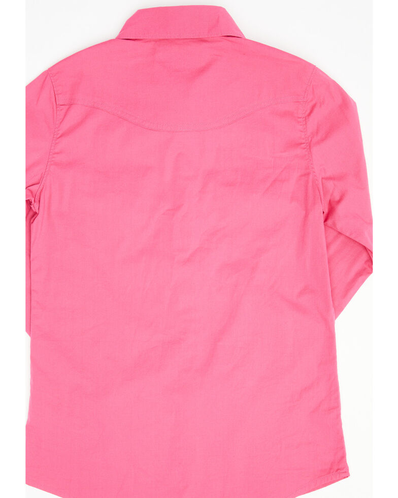 Shyanne Girls Pink Solid Woven Long Sleeve Western Shirt , Pink, hi-res