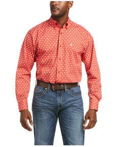 Ariat Men's Freman Small Geo Print Long Sleeve Button-Down Western Shirt - Big, Red, hi-res