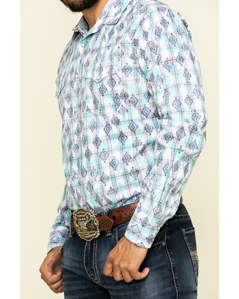 Wrangler Retro Premium Men's Purple Aztec Geo Print Long Sleeve Western Shirt , Purple, hi-res