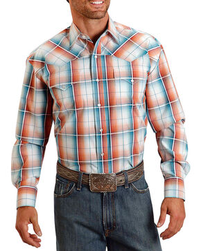Stetson Men's Orange/Turquoise Plaid Long Sleeve Western Shirt, Orange, hi-res