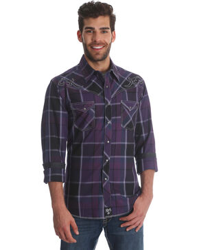 rock 47 by Wrangler Men's Purple Plaid Long Sleeve Western Shirt, Purple, hi-res