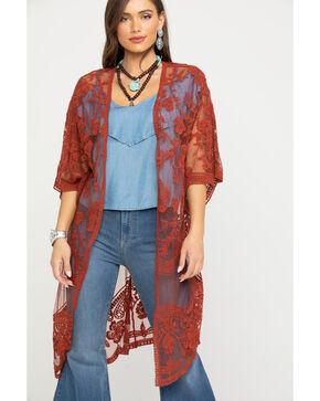 Polagram Women's Rust Lace Long Kimono, Rust Copper, hi-res