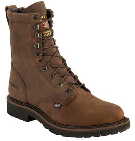 "Justin Men's Drywall Waterproof 8"" Work Boots - Soft Toe, Brown, hi-res"
