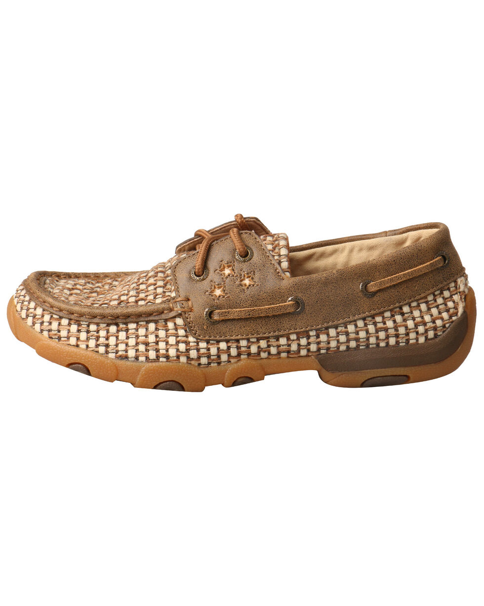 Twisted X Women's Ivory Driving Moccasin Shoes - Moc Toe, Brown, hi-res