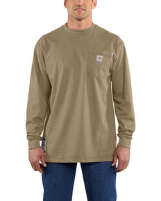 Carhartt Men's Flame-Resistant Force Long Sleeve Work T-Shirt - Big , Beige/khaki, hi-res