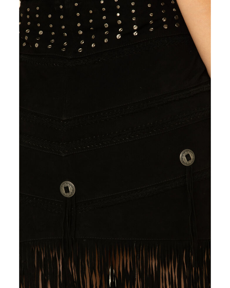 Idyllwind Women's Headline Concho Fringe Leather Skirt, Black, hi-res