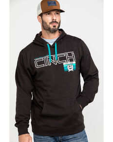 Cinch Men's Brown Fleece Logo Graphic Hoodie , Brown, hi-res
