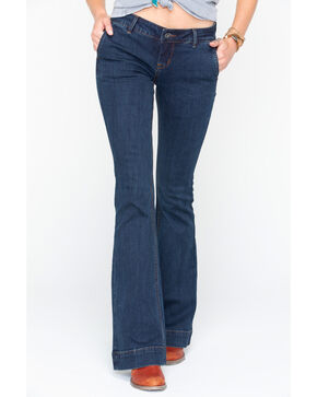 Grace In LA Women's Easy Fit Trouser Jeans, Dark Blue, hi-res