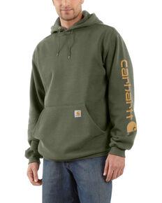 Carhartt Men's Winter Moss Midweight Signature Sleeve Hooded Work Sweatshirt -Tall  , Moss Green, hi-res
