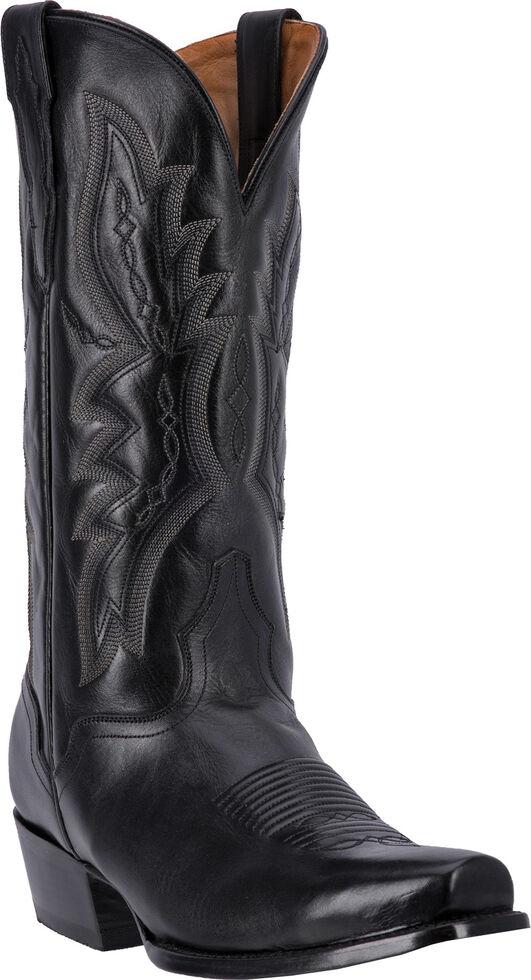 El Dorado Handmade Vanquished Calf Cowboy Boots - Square Toe, Black, hi-res