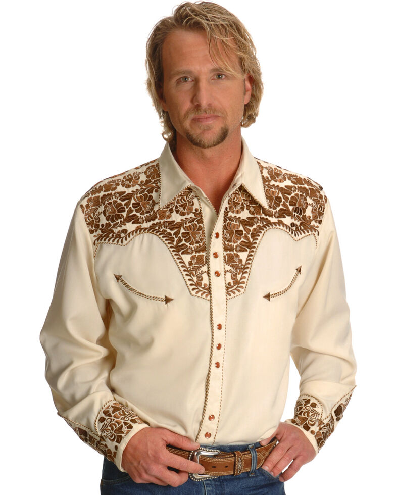 Scully Men's Tan Embroidered Gunfighter Shirt, Natural, hi-res