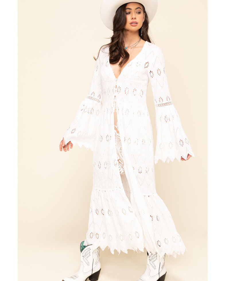 Free People Women's White Sweetwater Duster, White, hi-res