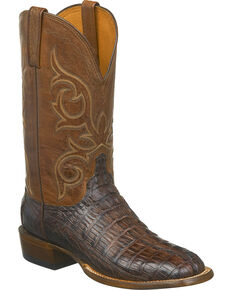 Lucchese Men's Handmade Haan Hornback Caiman Tail Western Boots - Square Toe, Brown, hi-res
