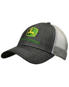 John Deere Men's Grey & White Embroidered Logo Mesh-Back Ball Cap , Grey, hi-res