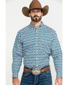 Tuf Cooper Men's White Stretch Aztec Poplin Print Long Sleeve Western Shirt , White, hi-res