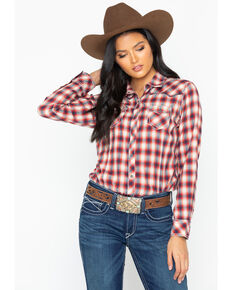 Ariat Women's Plaid Long Sleeve Snap Western Shirt , Red, hi-res