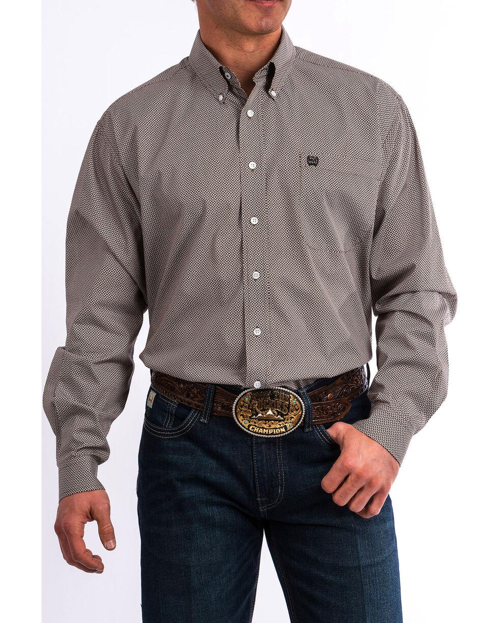 Cinch Men's Brown Geo Print Long Sleeve Western Shirt , Brown, hi-res
