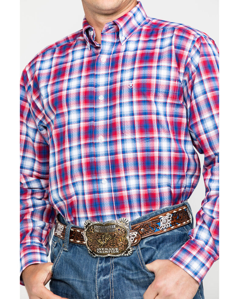 Ariat Men's Oakden Large Plaid Long Sleeve Western Shirt , Multi, hi-res