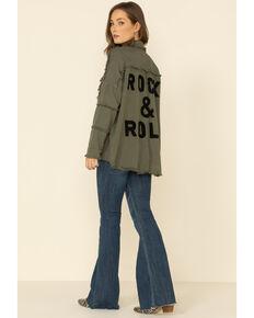 Elan Women's Rock & Roll Embroidered Long Sleeve Shacket , Olive, hi-res