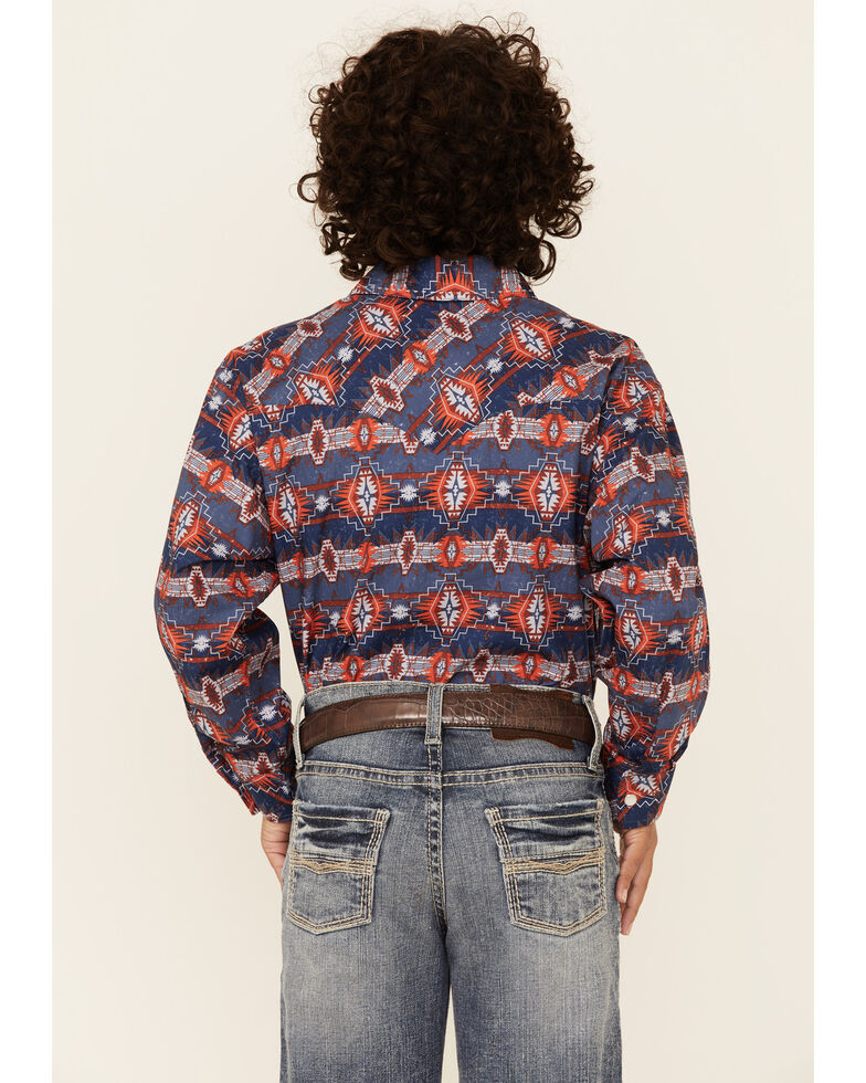 Dale Brisby Boys' Navy Aztec Print Long Sleeve Snap Western Shirt , Navy, hi-res