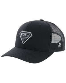 Hooey Girls' Black Rope Like A Girl Diamond Patch Mesh Ball Cap , Black, hi-res