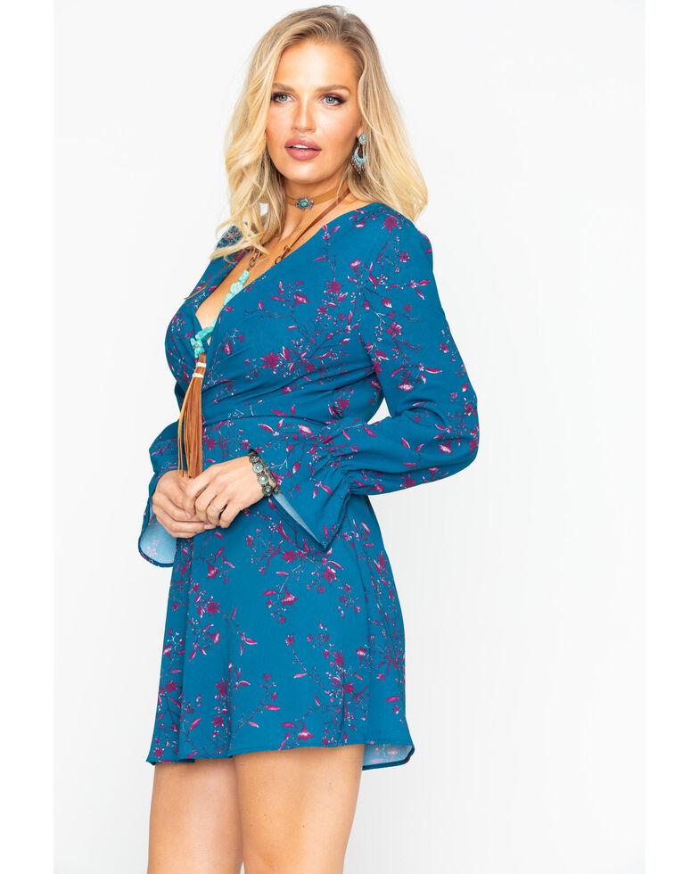 Eyeshadow Women's Floral Surplice Wrap Print Long Sleeve Dress , Turquoise, hi-res
