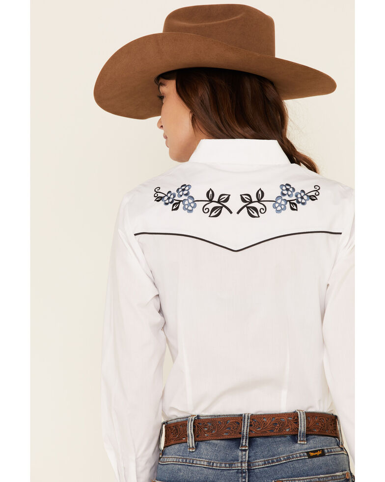 Ely Walker Women's White Floral Embroidered Long Sleeve Western Shirt , White, hi-res