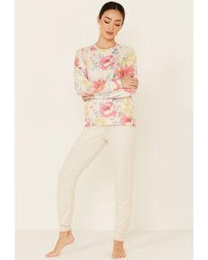 PJ Salvage Women's Happy Blooms Sweatpants, Oatmeal, hi-res