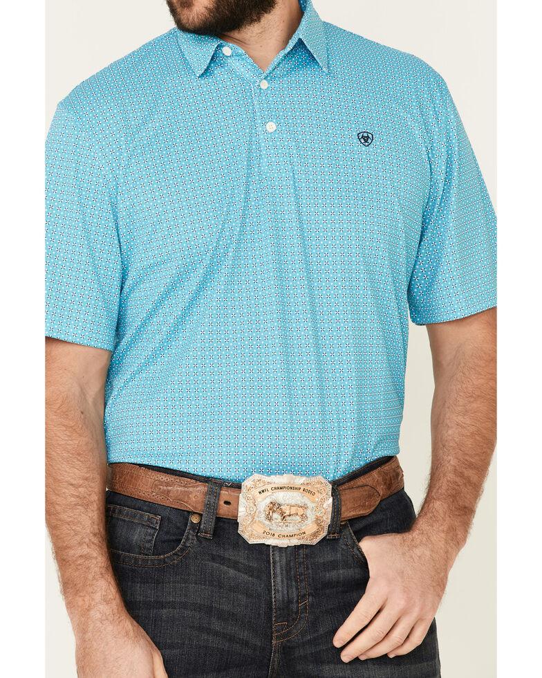 Ariat Men's Bluebird Printed Poly Short Sleeve Polo Shirt , Blue, hi-res