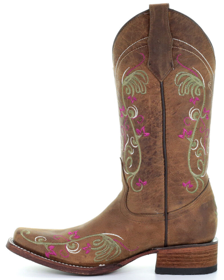 Corral Women's Floral Embroidery Western Boots - Square Toe, Tan, hi-res