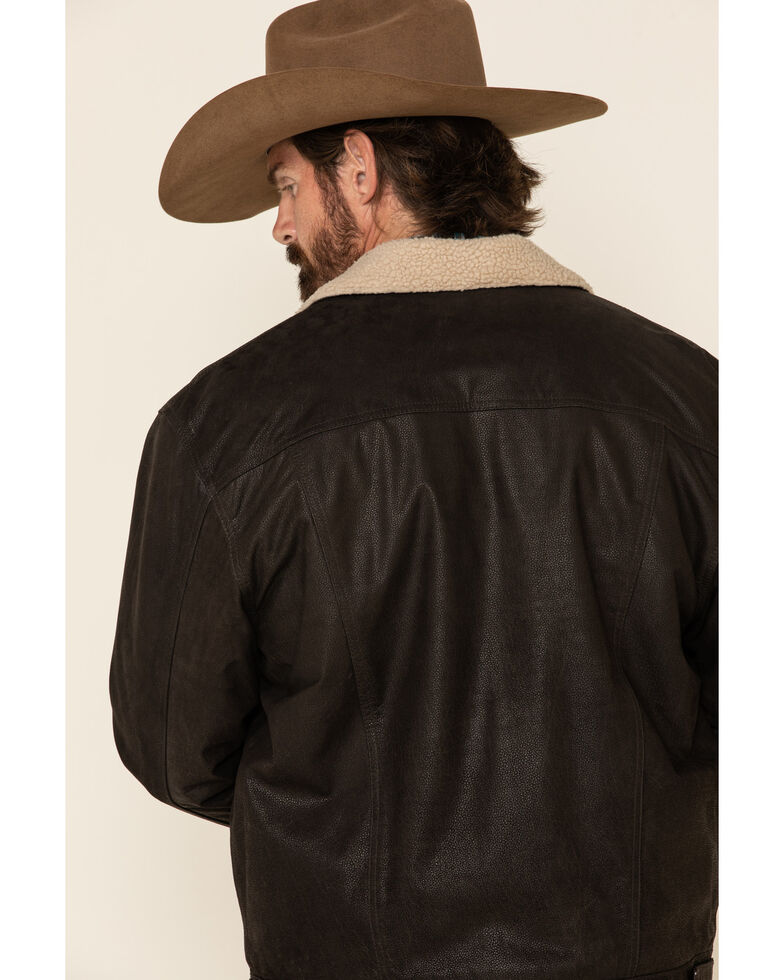 Cripple Creek Men's Brown Leather Sherpa Lined Jacket , Brown, hi-res