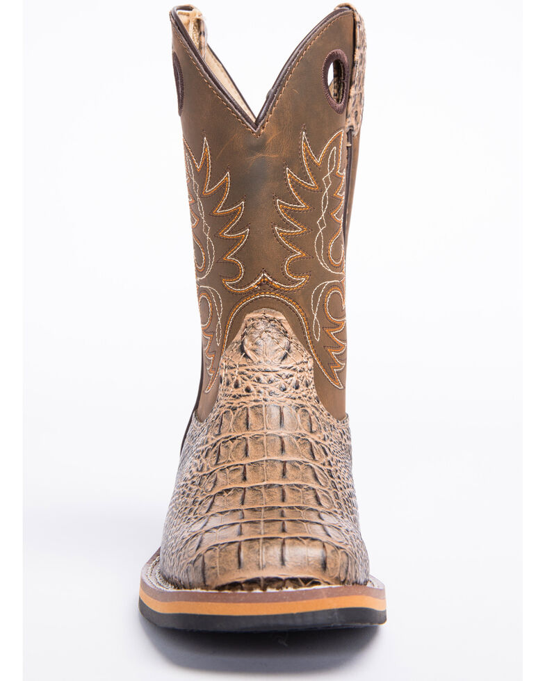 Cody James Boys' Gator Print Western Boots - Wide Square Toe, Brown, hi-res