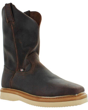 Justin Men's Premium Light Duty Work Boots - Square Toe , Brown, hi-res