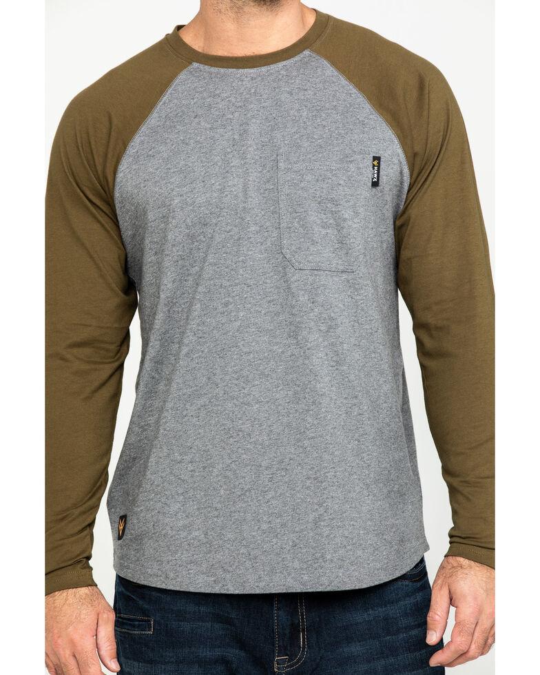 Hawx Men's Olive Baseball Raglan Crew Long Sleeve Work Shirt - Tall , Olive, hi-res