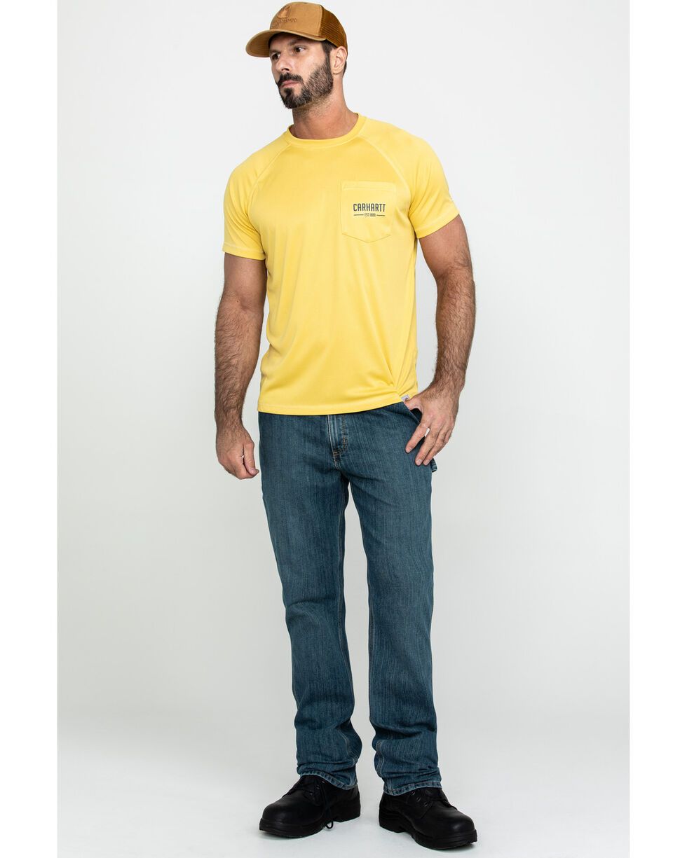 Carhartt Men's Yellow Force Birdseye Graphic Short Sleeve Work T-Shirt, Yellow, hi-res